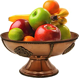 DharmaObjects Tibetan Hand Crafted Decorative Copper Fruit Bowl (Copper, 12