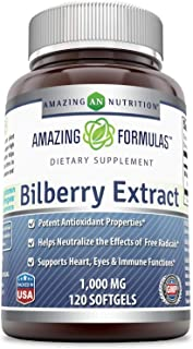 Amazing Formulas Bilberry Extract Natural Dietary Supplement 1000 Mg 120 Softgels (Non-GMO) - Rich in Vitamins - Pure Extract of Bilberries