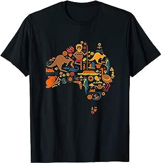 Australia T-Shirt Australian Elements Fun Map Graphic Tee