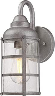 Westinghouse Lighting 6357700 Rezner One-Light, Galvanized Steel Finish with Clear Seeded Glass Outdoor Wall Fixture,