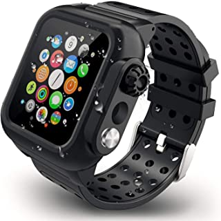 【2020新型】Apple Watch series4とseries5とseries6とseries SEバンド Apple Watch液晶保護フィルム カバー 一体式 44mm対応 運動型 IP65防水 防塵 耐衝撃 傷防止