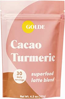 GOLDE Superfood Latte Blend - 30 Daily Servings - Delicious Anti-inflammatory for Skin, Gut Health, Stress Balance (Cacao)