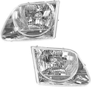 Headlights Headlamps Left & Right Pair Set for 01-03 Ford F150 Lightning Truck