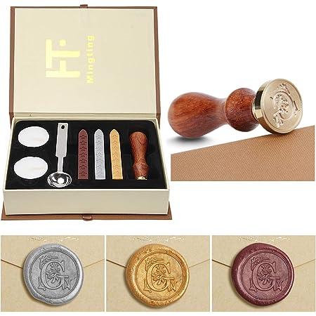 Ensemble de cire à cacheter PUQU, lettres initiales Vintage A-Z Alphabet Badge joint timbre Kit cire ensemble boîte-cadeau personnalisée