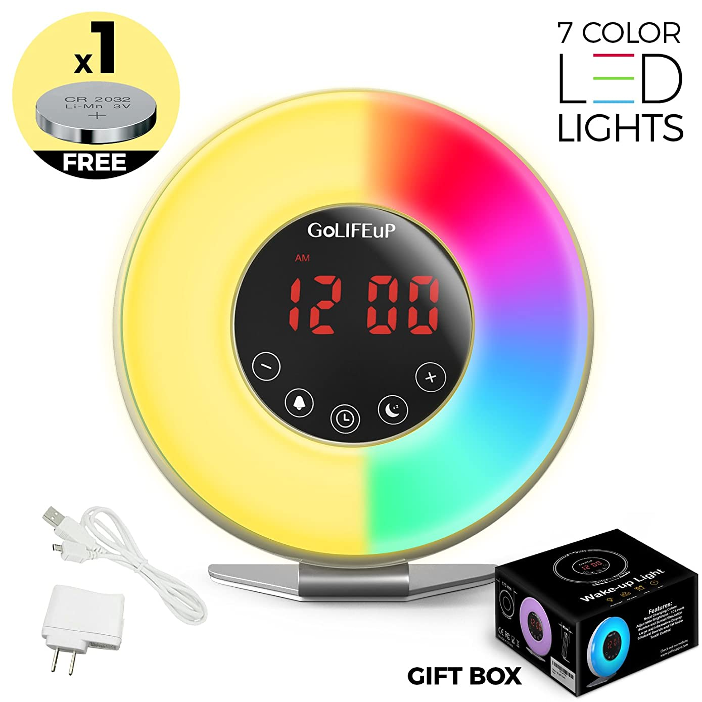 Alarm Clock Radio Digital Sunrise and Sunset simulation Wake Up Light for kids teens women and men with Touch LED display 6 natural sounds 7 colors with USB charger - perfect electronic GIFT for all