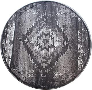 Bellagio Southwest Native American Round Area Rug Design 357 Distressed Grey (4 Feet x 4 Feet) Round
