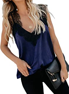 BLENCOT Women's V Neck Lace Strappy Cami Tank Tops Casual Loose Sleeveless Blouse Shirts