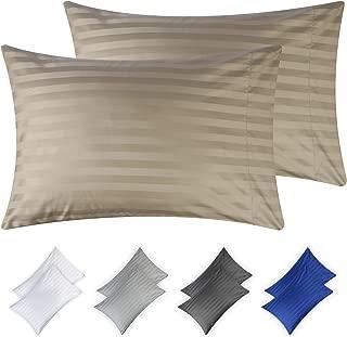 California Design Den 500 Thread Count Cotton Pillowcases -100% Long Staple Combed Cotton - Matches Woven Dobby Damask Stripe Satin Sheets, Set of 2 King Size, Khaki Oeko-TEX Certified