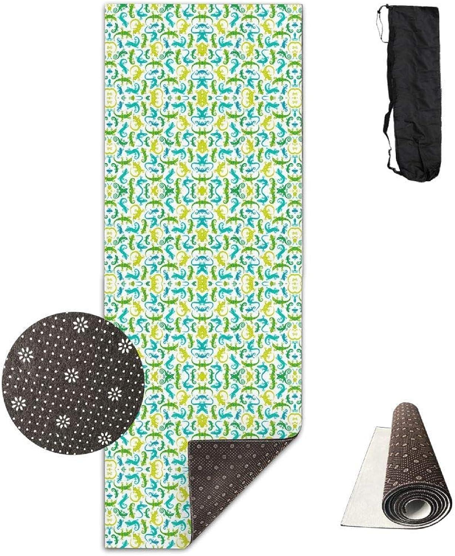 70Inch Long 28Inch Wide Comfort Velvet Yoga Mat, Cute Lizards Fabric (4451) Mat Carrying Strap & Bag