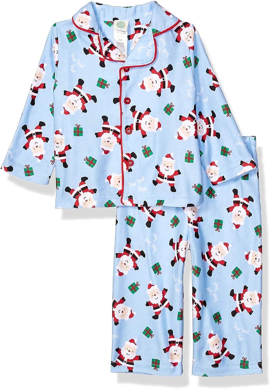 Little Me baby-boys 2 Piece Brushed Holiday Coat Pajama