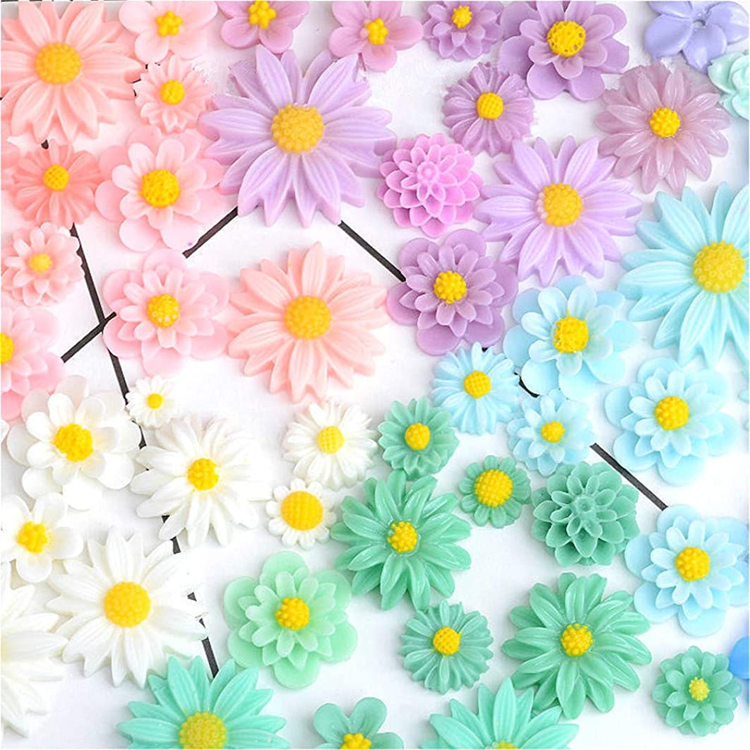 44 Pack Flower Slime Charms Daisy Peony Resin Flatback Slime Beads for Jewelry Making Scrapbooking Phone Case Decor Hair Accessories Fairy Garden Decor (Multi)