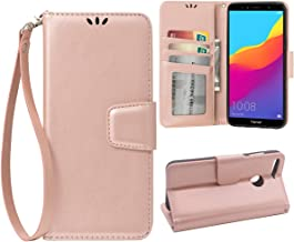 Flip Case for Huawei Honor 7C/Huawei Y7 2018/Y7 Prime 2018, Scratch-Proof Leather Wallet Stand Cover With Card Holder Phone Case Protector for Huawei Honor 7C/Huawei Y7 2018/Y7 Prime 2018, Rose Gold