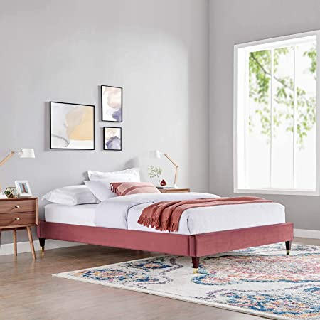 Modway Mod 6271 Dus Harlow King Performance Velvet Platform Bed Frame Dusty Rose Furniture Decor