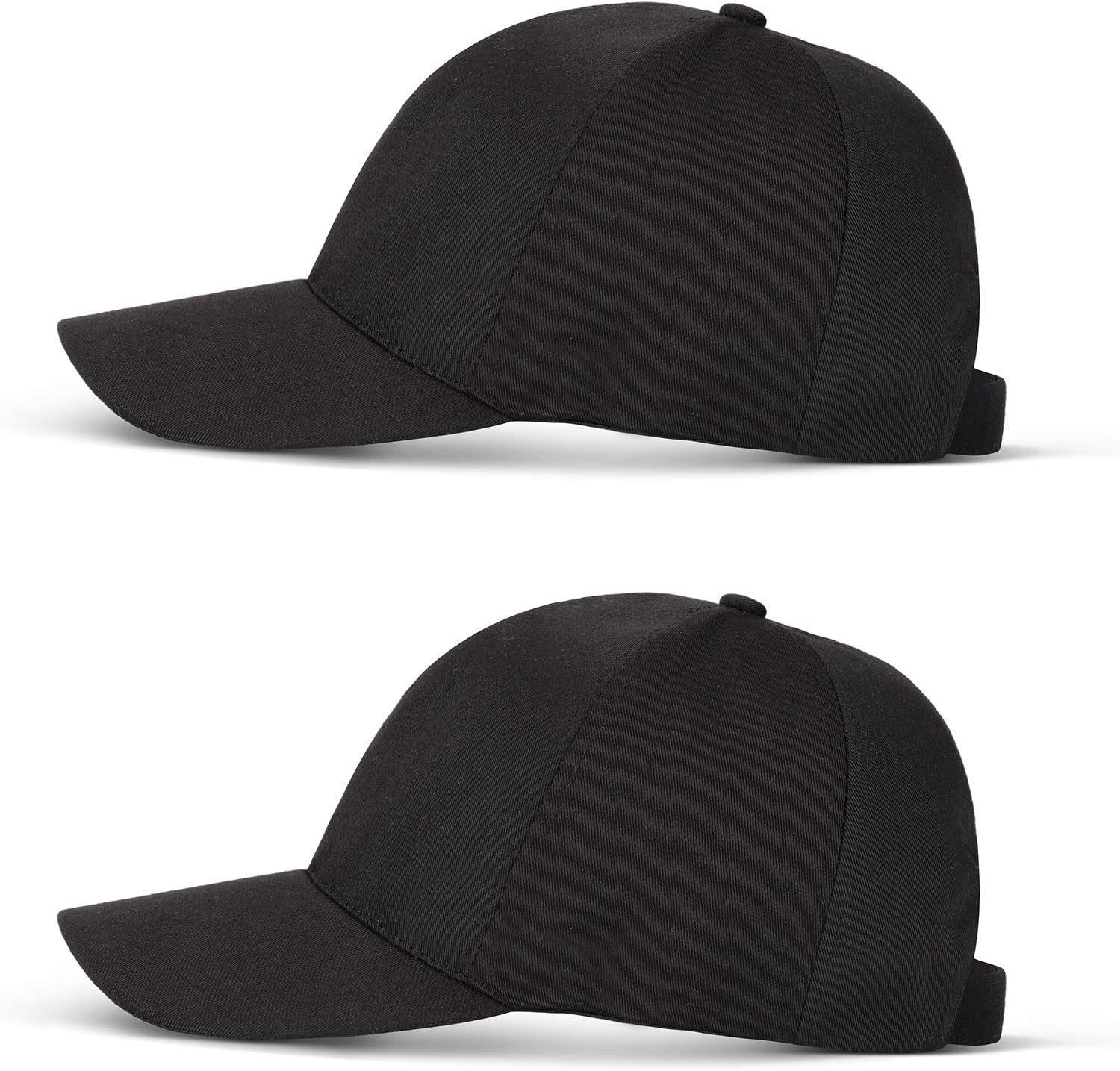 SATINIOR 2 Pieces Full Face Baseball Cap with Removable Cover for Men Women Indoor Outdoor Activities Black