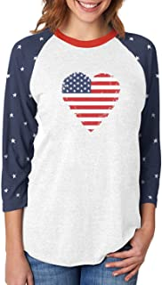Love USA 4th of July American Heart Flag 3/4 Women Sleeve Baseball Jersey Shirt