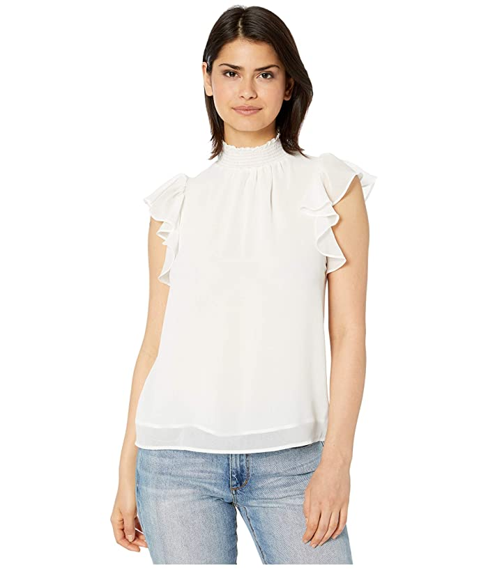 1.STATE  Flutter Sleeve Smocked Neck Blouse (Soft Ecru) Womens Blouse