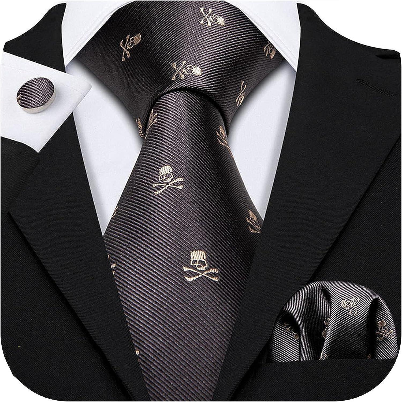 Fashion Designer Red Skull Men Tie Set 8.5cm Silk Handkerchief Ties Gift Wedding Business Shop 1994 Gravata Necktie