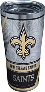 Tervis 1266666 NFL New Orleans Saints Edge Stainless Steel Tumbler with Clear and Black Hammer Lid 20oz, Silver