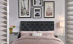 Iconic Home Rivka Headboard Velvet Upholstered Diamond Button Tufted Modern Transitional Full/, Queen, Black