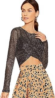 Women's Sexy Glitter Long Sleeve Mesh Sheer Cross Twist Crop Top Blouse Party