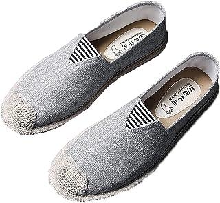 Hommes Espadrilles Couleur Unie Chaussures en Toile Respirantes Bout Rond Plat Anti-dérapant sans Lacet Mocassins décontra...