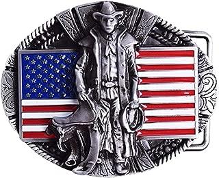 HOMYL American Flag Excavator Opeartor Belt Buckles For Men Cowboy Leather Jeans