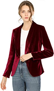 Allegra K Women's Office Coat Solid Shawl Collar 1 Button Velvet Blazer