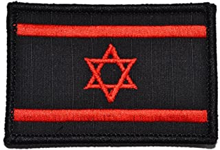 ShowPlus Israel Flag Tactical Patch Uniform Military Embroidered Applique Red