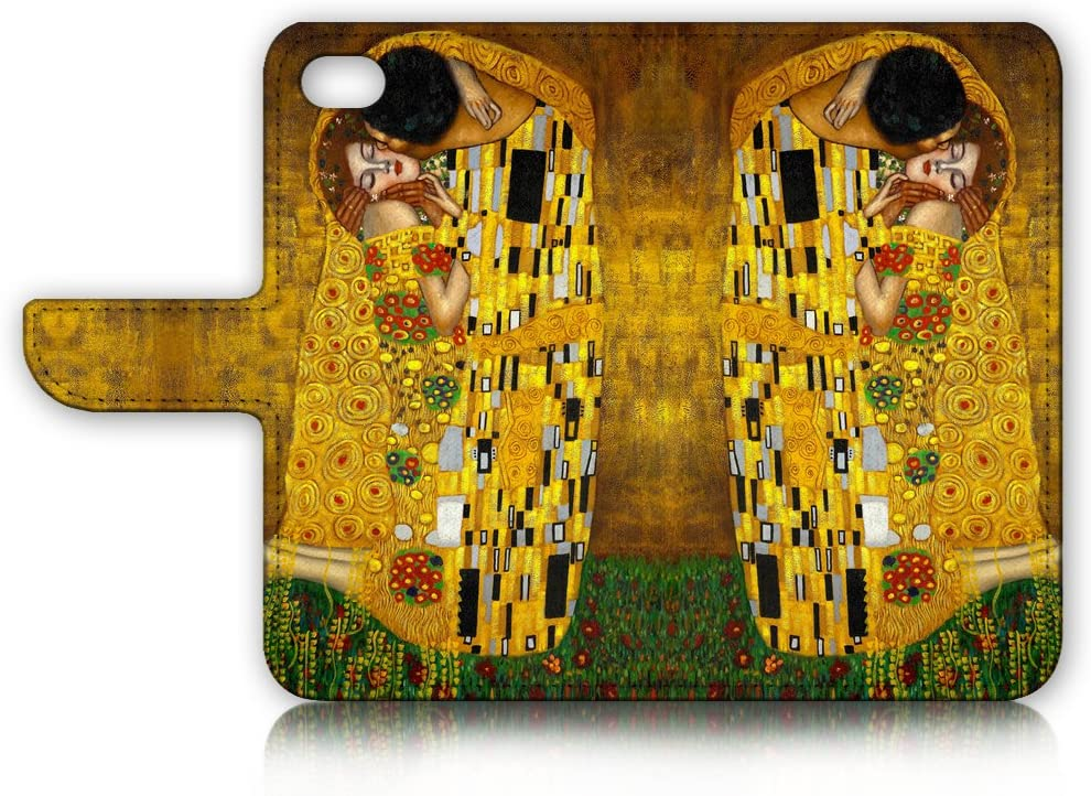 ( For iPhone 8 / iPhone 7 ) Flip Wallet Case Cover and Screen Protector Bundle A0007 The Kiss Klimt