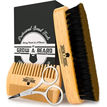 Beard Brush, Comb, Scissors Grooming Kit for Men's Care, Perfect to Distribute Balm or Oil for Growth & Styling, Adds Shine & Softness