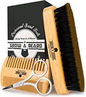Beard Brush, Comb, Scissors Grooming Kit for Men's Care, Perfect to Distribute Balm..