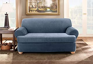 Sure Fit Stretch Pinstripe Loveseat Slipcover-Separate Seat T-Cushion Cover-Form Fit-Two Piece-Up to 40
