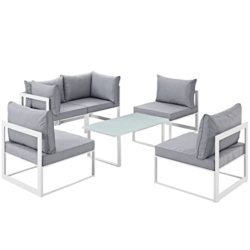 Modway Fortuna 6-Piece Aluminum Outdoor Patio Sectional Sofa Set in White  Gray - Modway Outdoor Furniture: Amazon.com