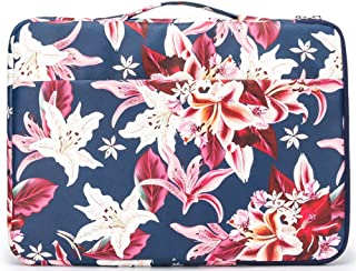 Kinmac Lily Blue Pattern 360 Degree Protective Waterproof Laptop Sleeve with Handle for 13 inch to 13.3 inch Laptop and MacBook air pro 13