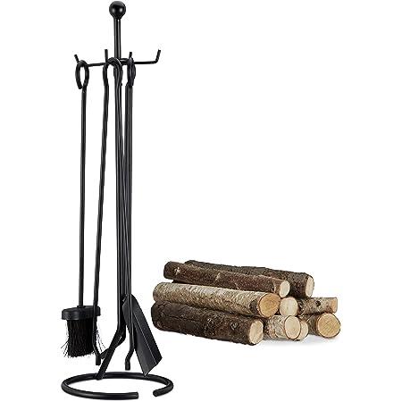 Relaxdays Ensemble serviteur de cheminée 5 pièces accessoire acier pince pelle balai tisonnier, noir