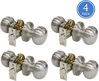 609 Door Knob Sets Passage Function Door Lock Keyless Interior Door Handles Brushed Nickel Finish, Unlocking Door Knobs Contractor Pack of 4, Flat Ball Style