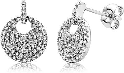 Miore - Orecchini da donna con diamante da 0,37 ct, con 138 diamanti, in oro bianco 9 carati / oro 375
