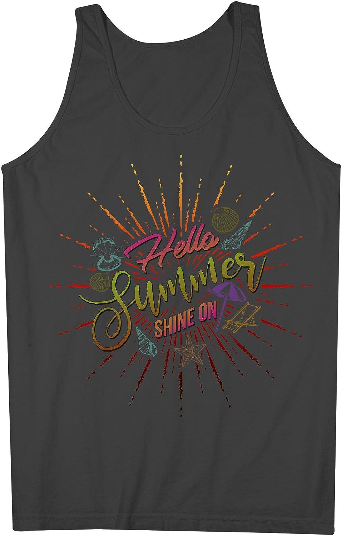 Hello Summer Shine On Sun Vacation Holiday 男性用 Tank Top Sleeveless Shirt