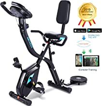 ANCHEER Folding Recumbent Exercise Bike,3-in-1 Cycle Indoor Stationary Bike,Workout Bike with 10Level Adjustable Magnetic Resistance&APP Program&Digital Monitor for Home Total Body Workout.