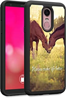 LG Stylo 4 Case, LG Stylo 4 Plus Case, LG Q Stylus Case, Rossy Heavy Duty Hybrid TPU Plastic Dual Layer Armor Defender Protection Case Cover for LG Stylo 4,Horse Theme