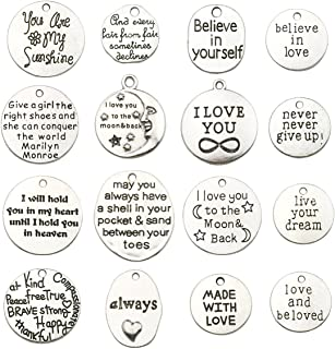 100g about 32pcs Inspiration Words Charms Craft Supplies Mixed Pendants Beads Charms Pendants for Crafting, Jewelry Findings Making Accessory For DIY Necklace Bracelet
