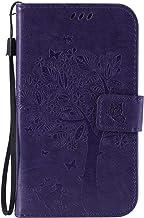 Guran® Funda de Cuero Para Samsung Galaxy Grand Neo Plus / Grand Neo (i9060) Smartphone Función de Soporte con Ranura para Tarjetas Flip Case Cover-púrpura