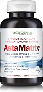 AstaMatrix® Algal Omega 3 DHA EPA Astaxanthin | Vegan-Friendly Alternative to Krill Oil or Fish Oil | Promotes Joint Heart Brain & Skin Health | 60 Vegan SoftGels