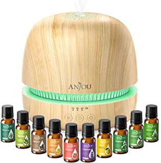 Essential Oil Diffuser Gift Set - Anjou 2rd Version Ultrasonic Aromatherapy Diffuser Cool Mist Humidifier with 10 PCS Esse...