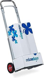 Relaxdays, Plateado, Carretilla de Mano Plegable hasta 200 kg, Metal, 107 x 40 x 40,5 cm