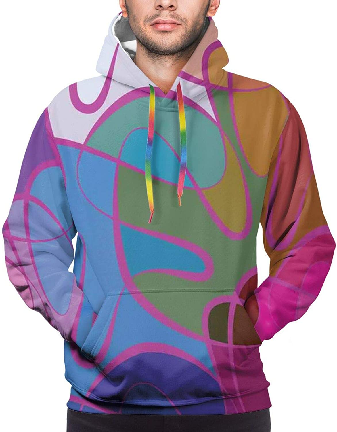 Men's Hoodies Sweatshirts,Motley Wave Pattern with Hand-Drawn Doodle Style Swirled Curly Lines Colorful