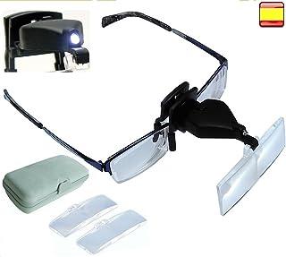 0bb32e210c Lupa para Gafas con Luz Led tipo pinza 3 MEDIDAS de aumento DIFERENTES  INCLUIDO