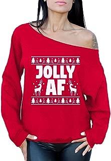 Awkward Styles Jolly AF Sweatshirt Off Shoulder Jolly AF Sweater Ugly Xmas