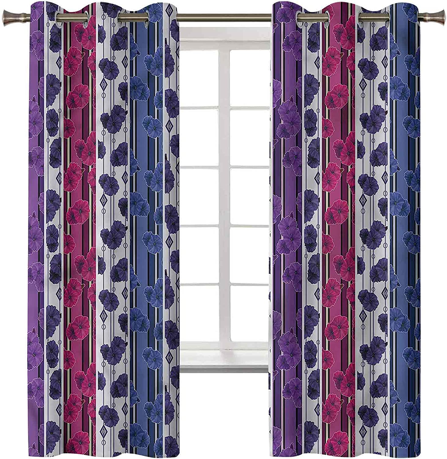 Striped Blackout sold out Curtains for Bedroom Set of 2 Panels x 45L 38W Classic