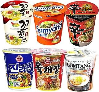 20S20 Assorted Instant Cup Noodle Soup 6 Pack- Koko Samyang Gomtang Jin Ramen Hot Spicy Shin Ramen